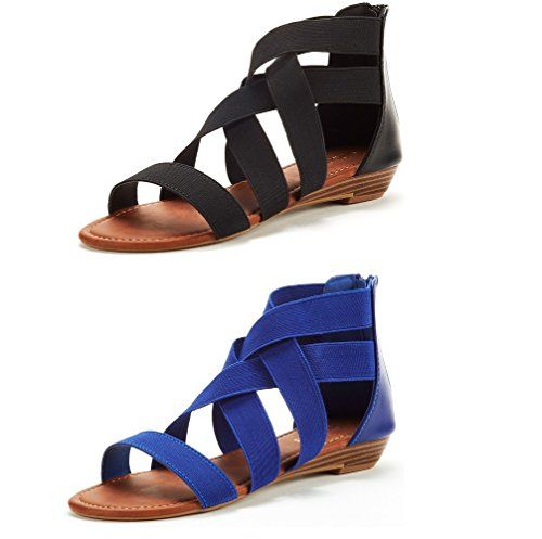 DREAM PAIRS Women's ELASTICA8 Black and Royal Blue (2 Pairs) Elastic Ankle Strap Low Wedges Sandals Size 9 M US