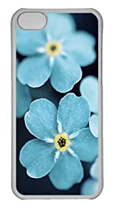 iPhone 5C Case and Cover - Forget Me Blue Flowers Custom Polycarbonate Hard Case Cover for iPhone 5C - Transparent