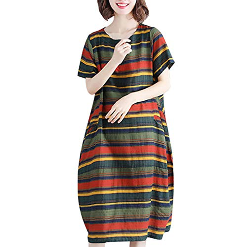 Dresses For Women Striped Cotton Linen Short Sleeve Dress O-neck Loose Plus Size Dress (L, -