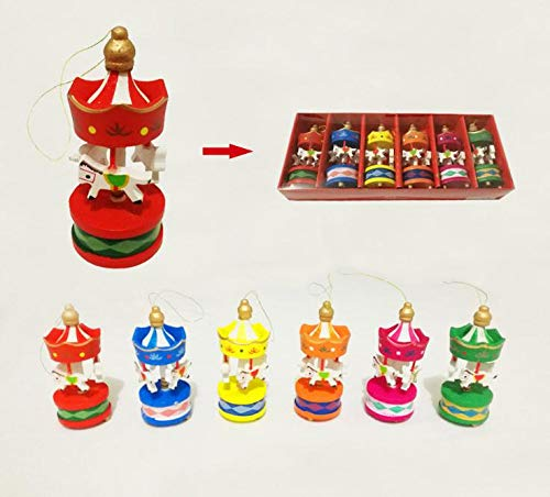 Party Favors - 120pcs Vintage Wood Carousel Horse Christmas Tree Pendant Hanging Ornaments Romatic Wedding Birthday - Craft Engagement Teens Squishy Anniversary Sports Necklace Potter Drawstring -