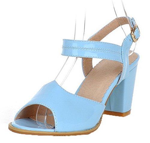 VogueZone009 Women Patent Leather Peep-Toe Kitten-Heels Buckle Solid Sandals Blue
