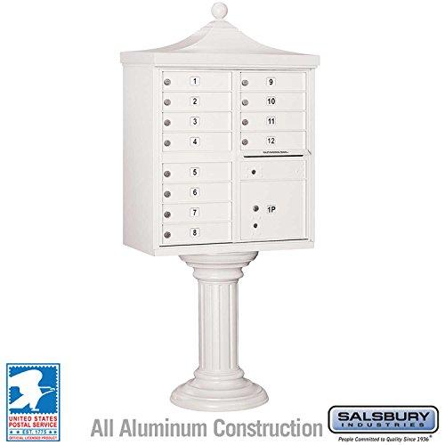 (Salsbury Industries 3312R-WHT-U Regency Decorative CBU with CBU, Pedestal, CBU Top and Pedestal Cover, 12 A Size Doors, Type II, USPS Access, White)