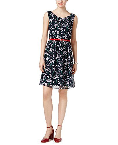 (Connected Apparel Women's Chiffon Floral Print Wear to Work Dress Navy 10)
