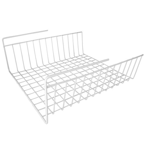 Under Shelf Wire Rack Basket Kitchen Organizer - White - Easy to Install (12 1/2