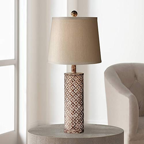 Gisele Cottage Table Lamp Gold Wash Lattice Column Tapered Drum Shade for Living Room Family Bedroom Nightstand ()