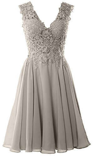 Formal Short Prom Cocktail Gown Gorgeous MACloth V Lace Homecoming Silver Dress Neck xqZAxawvXz