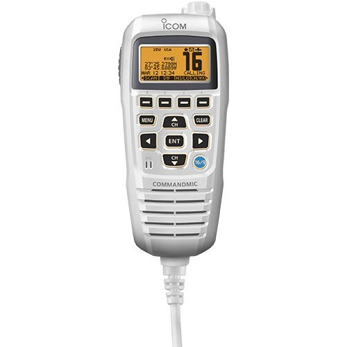 Icom Commandmic Iv With White Backlit Lcd In Super White (Part #Hm195Gw By Icom)