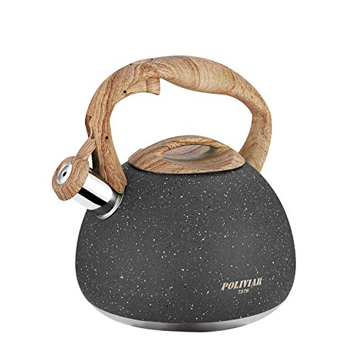 Poliviar Tea Kettle, 2.7 Quart Natural Stone Finish with Wood Pattern Handle Loud Whistle Food Grade Stainless Steel Teapot, Anti-Hot Handle and Anti-Rust, Suitable for All Heat Sources (JX2018-GR20) ()