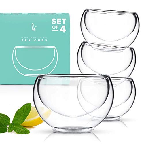 Tea Cup Set of 4 - Modern Double Wall Glass Insulated Teacups Best Paired with your Teapot or Coffee (2.5 oz) - Teapot Handle Double
