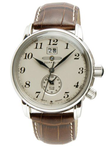 Zeppelin Dual Time Brown Leather Strap Watch With Date (Swiss Time Zone)