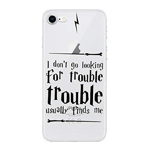 iPhone 5/5s Harry Potter Quotes Silicone Phone Case/Gel Cover for Apple iPhone 5s 5 SE/Screen Protector & Cloth/iCHOOSE/Trouble (Quote Case For Iphone 5s)