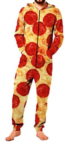 Domple Men Unisex Adult Pepperoni Pizza Costume Jumpsuit Hooded Zip Onesie Cozy Pajamas 1 L