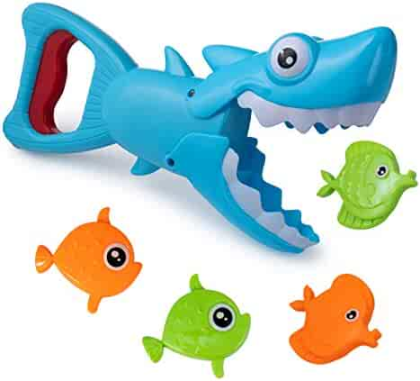 Hoovy Bath Toys Fun Baby Bathtub Toy Shark Bath Toy for Toddlers Boys & Girls Shark Grabber with 4 Toy Fish Included (Shark Grabber)