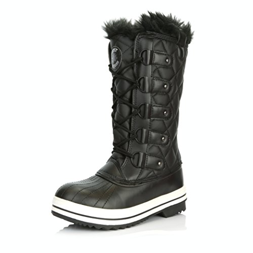 Women's DailyShoes Lace Up Knee High Artic Warm Fur Water Resistant Eskimo Snow Boots, 6.5, Black ()
