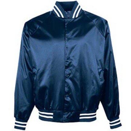 Satin Baseball Jacket (Adult Satin Baseball Jacket with Striped Trim (2X-Large) From Augusta Sportswear)