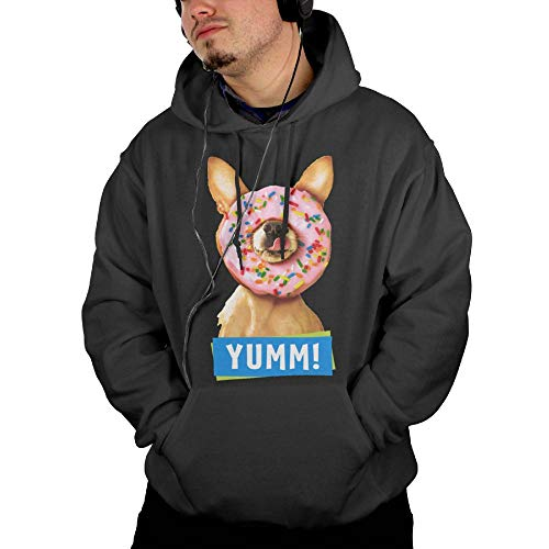Pautabely Mens Funny Chihuahua Dog with Sprinkle Donut On Nose Outdoor Sweatshirts XXL Black
