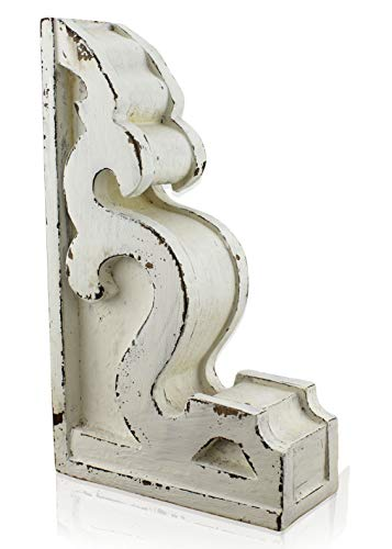 "SAM + OLLIE FURNISHINGS Antique Style Corbel Finial Bookend, Chippy White Wood (10""x6""x2.5"")"