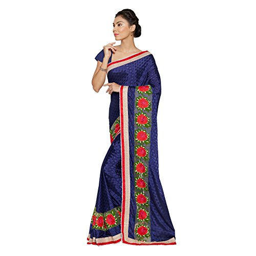 Viva-N-Diva-Navy-Blue-Crepe-Jacquard-And-Net-Saree-With-Unstitched-Blouse-Piece