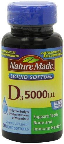 Nature Made Vitamin D-3, 5000IU, 90 Softgels (Pack of 4) (Nature Made Vitamin D3 5000 Iu compare prices)