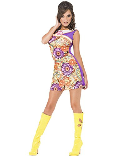 Ladies Hippy Fancy Dress (Ladies Sexy Fever 60'S Peace Love Fancy Dress Costume)