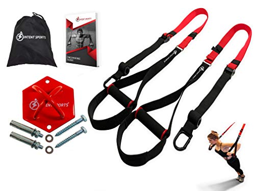 INTENT SPORTS Complete Bodyweight Fitness Resistance Trainer KIT plus Intent Mount. Use Almost Anywhere. Professional Quality, for Home Gym. Pro Straps, Durable Mount. Build Lean Muscle, Core Strength (Best Bodyweight Exercise Equipment)