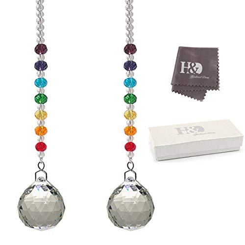 H&D HYALINE & DORA 30mm Crystal Prism Ball Chakra Rainbow Colors Rondelle Beads Strand Design Rainbow Suncatcher,Pack of 2