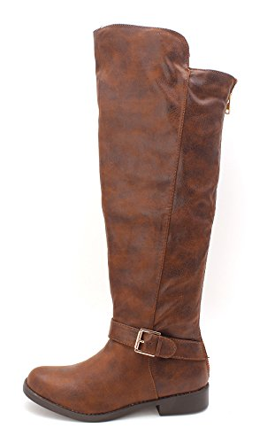 Justfab Womens Erica Closed Toe Knee High Fashion Boots  Cognac  Size 7 5