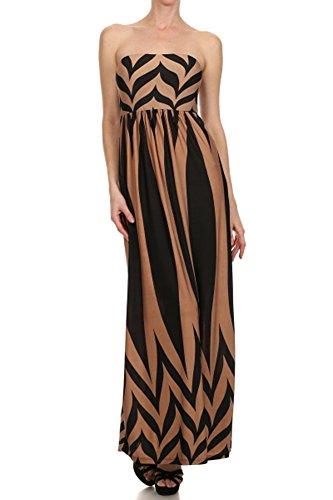 (PLUS SIZE) Maxi Dress Soft Zigzag Print Elastic Empir Waist (MADE IN U.S.A)
