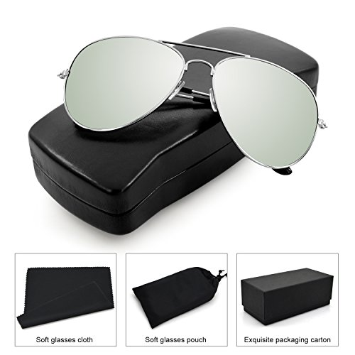 Aviator Eyewear/Pilot Eyeglasses, Colorful Sunglass Frame, Sports Eyewear for Men and Women with Black Case- Military Style,100% UV - Zone Sunglasses
