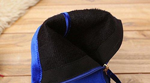 Martin Tacchi Scarpe Alti Alla Caldo Solido Donna Flock Somesun Faux Buckle Caviglia Blu Stivali 78AXWq
