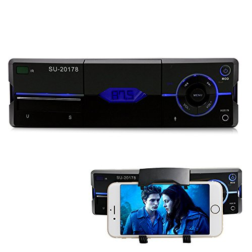 Car Stereo with bluetooth Car stereo with Phone Holder, Car audio radio reciver, Single Din in Dash,Support USB, SD Card, FM,AUX IN, with Remote Control (Holder Stereo)