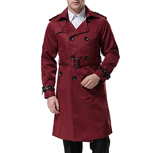 Men's Double Breasted Trenchcoat Stylish Slim Fit Mid Long Belted Windbreaker Wine Red