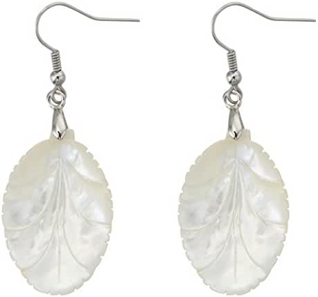 Wedding Bridal Leaf-Shaped Fishhook Earrings with Natural White Pearl Shell