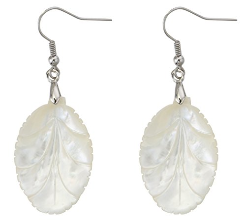 Natural Shell Earrings - MagicYiMu Oval White Leaf Drop Dangle Hook Earrings Adorned with Natural Pearl Shell Jewelry for Women