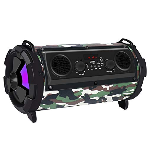 Portable Bluetooth Speaker, Indoor/Outdoor Bluetooth Boombox Speaker - with Micro SD Card, Aux, Back-lit LED Light, FM Radio, Rechargeable Battery,Camouflagecolor