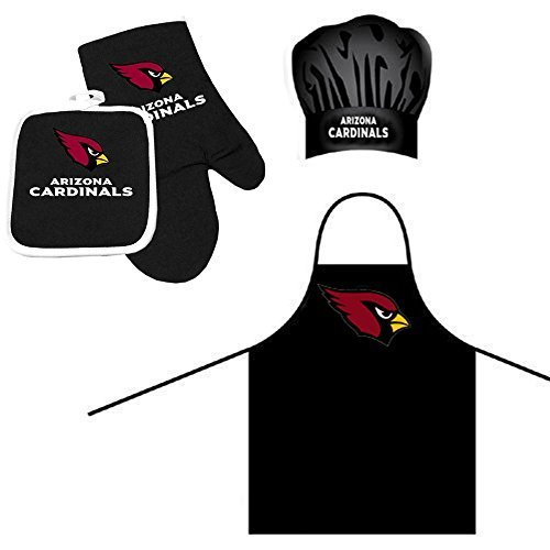 Pro Specialties Group NFL Arizona Cardinals Team Logo Barbeque Apron, Chef's Hat and Pot Holder Deluxe Set