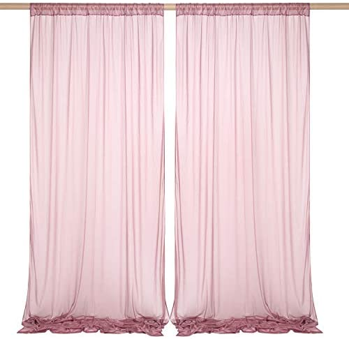 SHERWAY 2 Panels 5 feet x 10 feet Wrinkle-Free Deep Mauve Sheer Backdrop Curtain for Wedding Ceremony Party Arch Decorations