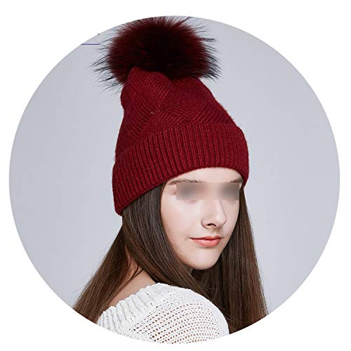 cb41143fa12 MT-Style Real Fox Raccoon Fur Pompom Winter Hats Slouchy Beanies for Women  Thick
