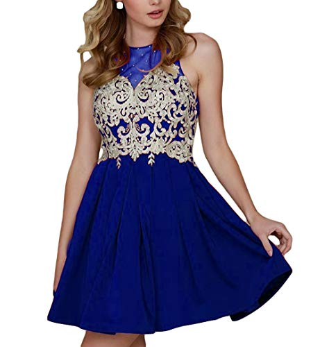 Retour Aux Sources D'or Appliqué Licou Femmes Dkbridal Robe Mini Robes Sheer Partie Cocktail De Bal 2018 Bleu Royal