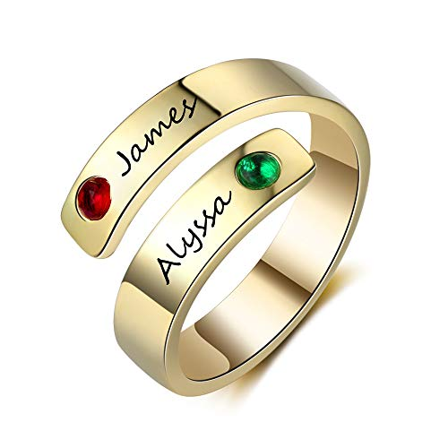 Personalized Ring for Mom 2 Simulated Birthstone Rings for Mom Adjustable Mothers Day Rings (Gold)