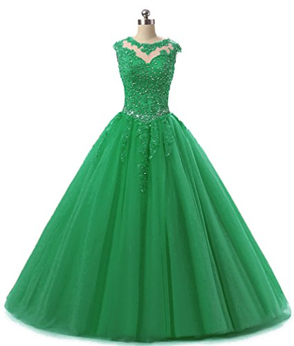 Evening Sequined Appliques Dresses Gown 2018 Ball H152 Quinceanera Long Prom Green HEIMO Beading Dress Lace wI8qUf