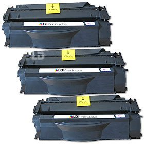 LD Compatible Replacement for HP 53X / Q7553X Set of 3 High Yield Black Laser Toner Cartridges for LaserJet M2727 MFP, M2727 nf MFP, M2727nfs MFP, P2015, P2015d, P2015dn & P2015x (Hp Laserjet Printer P2015dn)