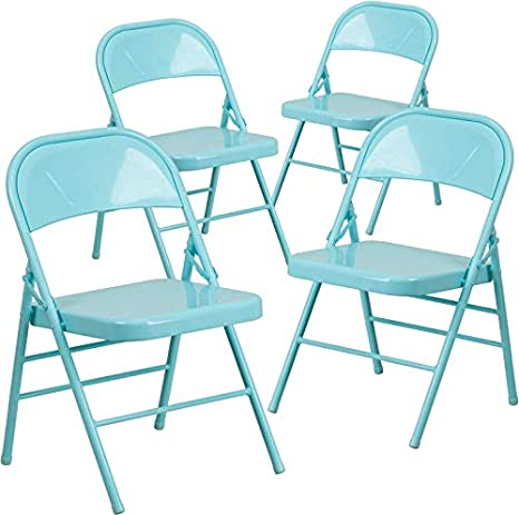 Amazon.com: Emma + Oliver 4 Pk Silla plegable de metal con ...