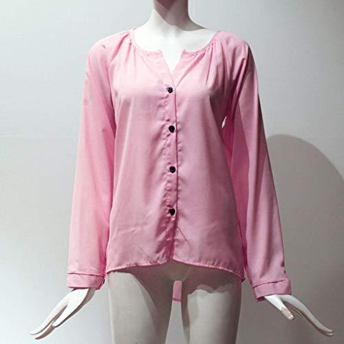 chiffon donne camicetta allentato Solid a Pulsante Autunno scollo Primavera Top in a rosa V lunghe maniche Babysbreath17 zUqFxSww