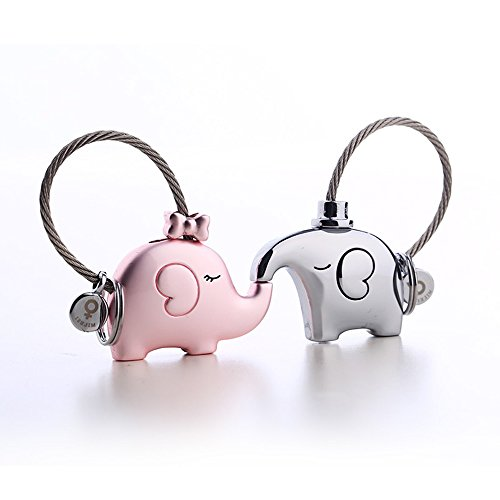 GEOOT Fantastic One Pair Kiss Elephant Couple Keychain Key Pendant Gift (Silver&Pink) -