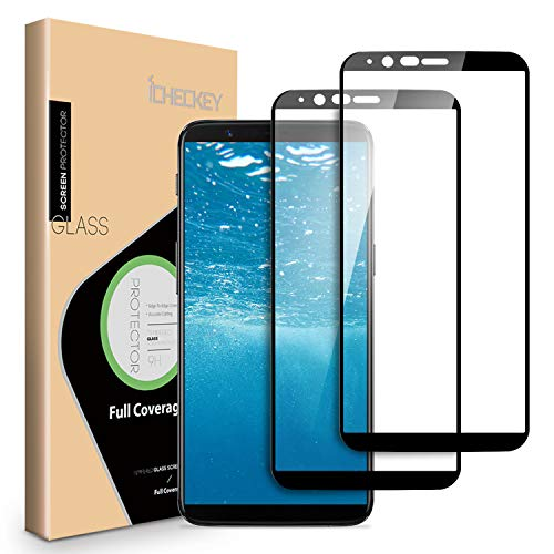 [2 Pack] OnePlus 5T Screen Protector, ICHECKEY [Full Adhesive] [2.5D Full Coverage] [Case Friendly] Tempered Glass Screen Cover Shield for OnePlus5T - Black