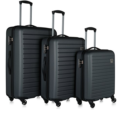 Revelation! Dominica 3-Piece Expandable Upright Hardside Spinner Luggage Set: 31'', 27'', and 22'' (Charcoal) by Revelation