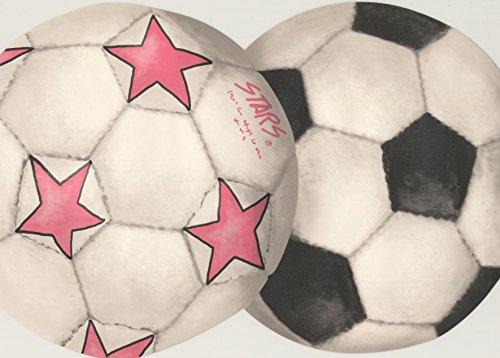Soccer Football Balls Sports White Wallpaper Border Retro Design, Roll 15' x 9'' ()