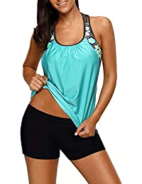 bb90e153ca305 Womens Blouson Striped Printed Strappy T-Back Push up Tankini Top with  Shorts