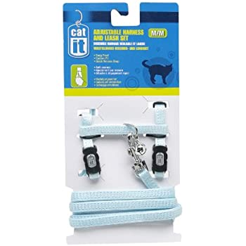 Catit Nylon Adjustable Cat Harness and Leash Set, Medium, Blue